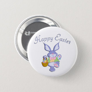 Dancing Purple Easter Bunny Button