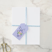 Dancing Purple Easter Bunny Gift Tags