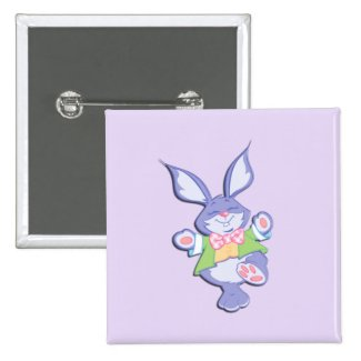 Dancing Purple Easter Bunny Lavender 2 Inch Square Button