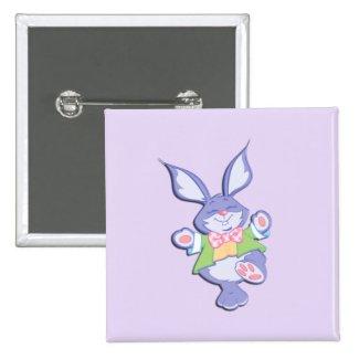 Dancing Purple Easter Bunny Lavender 2 Inch Square Button
