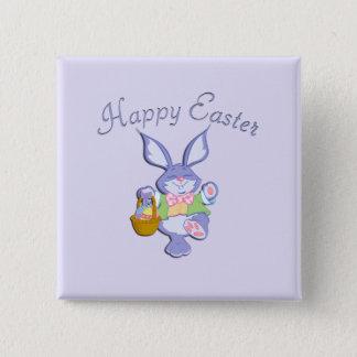 Dancing Purple Easter Bunny Lavender Button