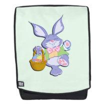 Dancing Purple Easter Bunny Mint Green Backpack