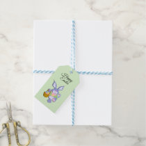 Dancing Purple Easter Bunny Mint Green Gift Tags