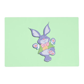 Dancing Purple Easter Bunny Mint Placemat