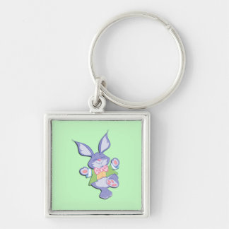Dancing Purple Easter Bunny Mint Silver-Colored Square Keychain