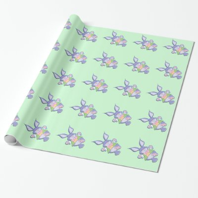 Dancing Purple Easter Bunny Mint Wrapping Paper