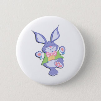 Dancing Purple Easter Bunny Pinback Button