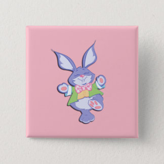 Dancing Purple Easter Bunny Pink Button