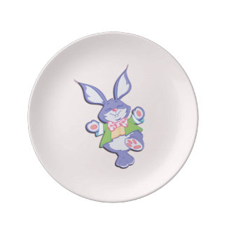 Dancing Purple Easter Bunny Pink Porcelain Plate