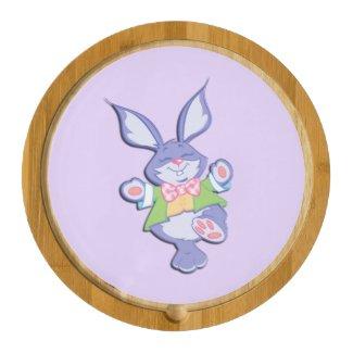 Dancing Purple Easter Bunny Round Cheeseboard