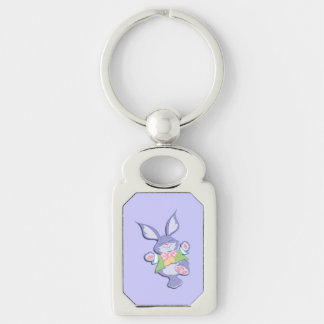 Dancing Purple Easter Bunny Silver-Colored Rectangular Metal Keychain
