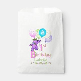 Dancing Purple Princess Bear 1st Birthday Favor Bag