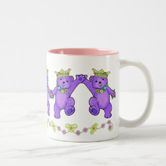 Dancing Purple Princess Bears Two-Tone Coffee Mug