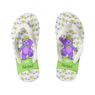 Dancing Purple Princess Teddy Bears Custom Kid's Flip Flops