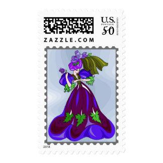 Dancing Purple Sorceress Fantasy Cartoon Stamp