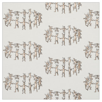 dancing rabbit bunnies in a circle repeat fabric