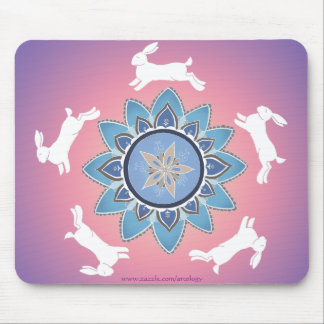 Dancing Rabbit Mandala Mousepad (Teal)