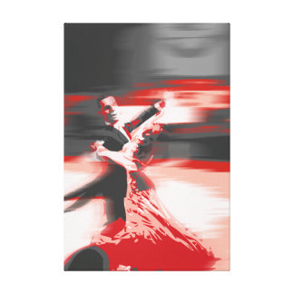 dancing-red stretched canvas print