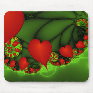 Dancing Red Hearts Modern Abstract Fractal Art Mouse Pad