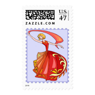 Dancing Red Scarf Princess Fantasy Cartoon Stamp