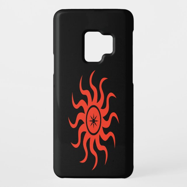 Dancing Red Sun on Black Abstract Galaxy S9 Case