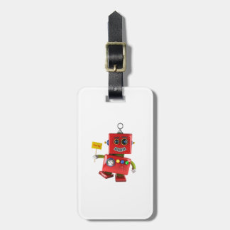 Dancing red toy robot with party sign bag tag