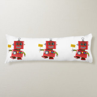 Dancing red toy robot with party sign body pillow
