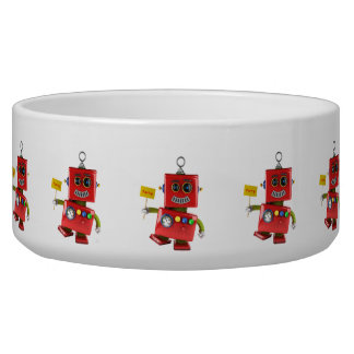 Dancing red toy robot with party sign bowl