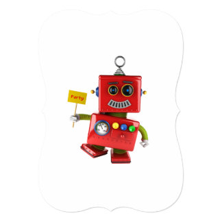 Dancing red toy robot with party sign card