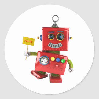 Dancing red toy robot with party sign classic round sticker