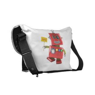 Dancing red toy robot with party sign courier bag