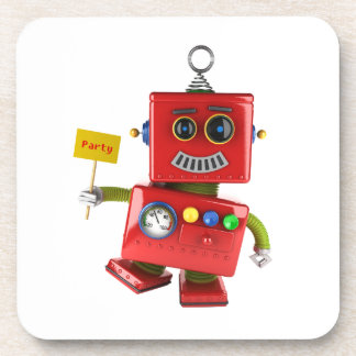 Dancing red toy robot with party sign drink coaster