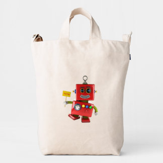 Dancing red toy robot with party sign duck bag