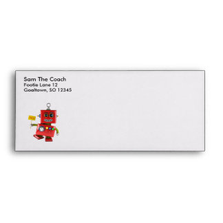 Dancing red toy robot with party sign envelope