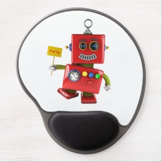 Dancing red toy robot with party sign gel mouse pad