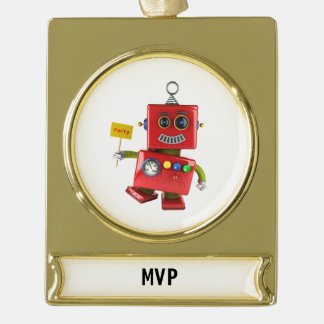 Dancing red toy robot with party sign gold plated banner ornament