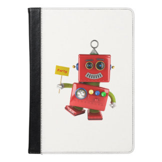 Dancing red toy robot with party sign iPad air case