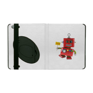 Dancing red toy robot with party sign iPad covers