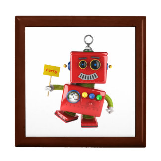 Dancing red toy robot with party sign jewelry box