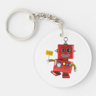 Dancing red toy robot with party sign keychain