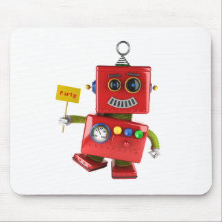 Dancing red toy robot with party sign mouse pad