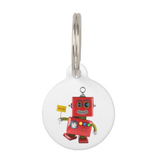 Dancing red toy robot with party sign pet ID tag