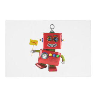 Dancing red toy robot with party sign placemat