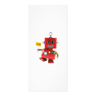 Dancing red toy robot with party sign rack card