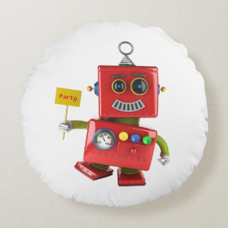 Dancing red toy robot with party sign round pillow