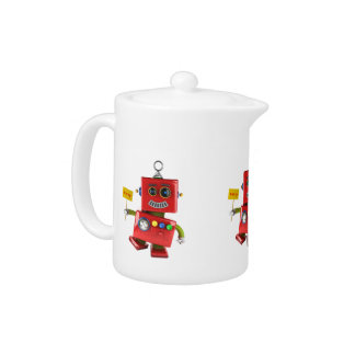 Dancing red toy robot with party sign teapot