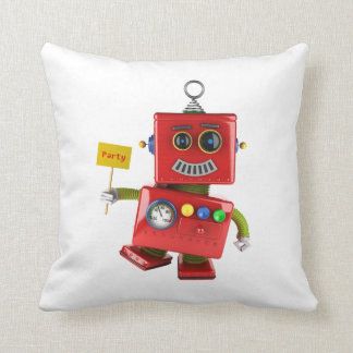Dancing red toy robot with party sign throw pillow