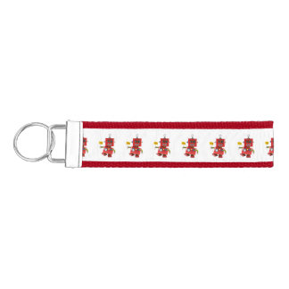 Dancing red toy robot with party sign wrist keychain