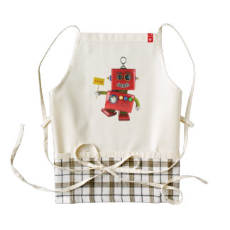 Dancing red toy robot with party sign zazzle HEART apron