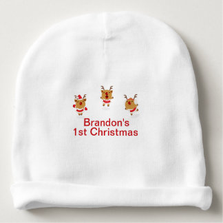 Dancing Reindeer 1st First Merry Christmas Xmas Baby Beanie